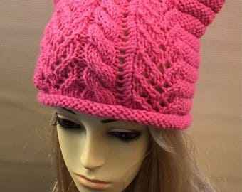 READY TO SHIP>>Pink Cat Beanie Cat Ear Hat Knit Pussy Cat, Pink Pussyhat Project, Women's March Hat, Pussycat Hat, Feminist Hat,Pink Cat.