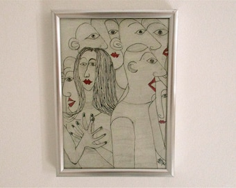 Art outsider art modern original line drawing,simple drawing,ink drawing,people,christmas gift idea,one of a kind art,figurative people art