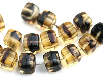 15pc Large Cube beads, Amber Yellow and Black czech glass pressed cubes - 9mm - 2639