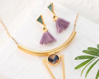 Fringe Earrings and Arrow Necklace Set, Colorful Jewelry Set, Purple Tassel Earrings, Colorful Bib Necklace, Lavender Dangle Earrings