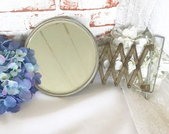 Antique Accordion Barber's Mirror, Art Deco Vintage Round Wall mount Metal, Bathroom Shaving, Extendable Mancave Rustic industrial