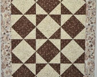 Modern Neutral Quilt Handmade - Tumbling Triangles