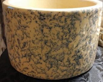 Robinson Ransbottom Pottery RRPC Blue Spongeware Butter Crock #303 A