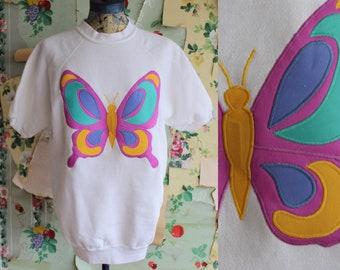 Vintage 1970s 1980s Pastel Butterfly Short Sleeve Sweatshirt. Large. Tultex. Copperhive Vintage.