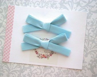 Blue Pigtail Bows, Pigtail Clips, Hand Tied Bows, Hair Bows, Pigtail Hair Clips, Toddler Bows, Girls Bows, Toddler Hair Bows, Baby Bows