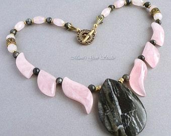 Rose Quartz, Labradorite, Zebra Jasper Necklace, Gold Brass, Gemstone Fan Necklace, Pink Black Gray