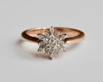 9ct Gold Vintage Diamond Starburst Ring, Engagement Ring, Size UK M, US 6