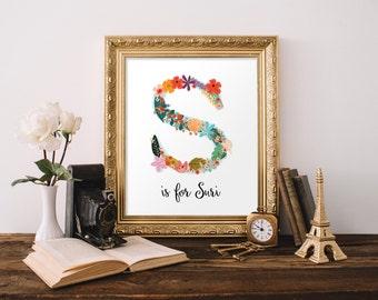 Floral monogram print, Printable gift, Personalised nursery, Monogram printable art, Nursery decor, Initial print, Monogram wall art BD-999
