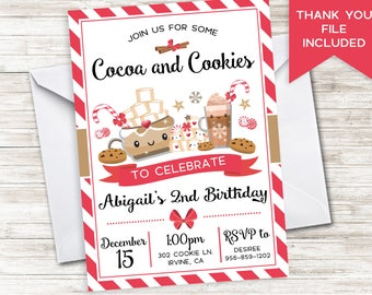Cocoa and Cookies Invite Invitation 5x7 Digital Christmas Girls Hot Chocolate Birthday ANY AGE Winter