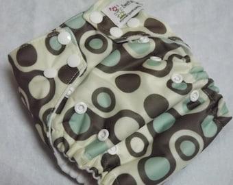 One Size or Newborn AI2 Cloth Diaper Organic Cotton and Velour Dot Matrix