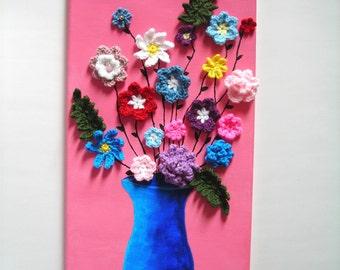 Crochet Flower Canvas/Crochet Flowers/Canvas Wall Art/Crochet Wall Art/Crochet Canvas/Crochet Floral Arrangement/Acrylic Painting