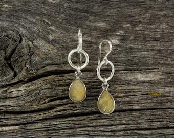 Gold Quartz Spirit Stone Earrings