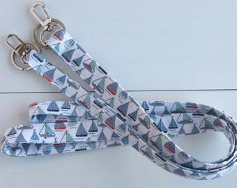 ID Holder Keychain, ID Badge Holder, Teacher Lanyard, Nautical Lanyard