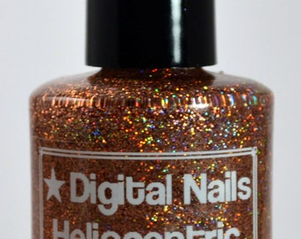 Heliocentric, a holographic copper glitter polish inspired by Copernicus, by Digital Nails