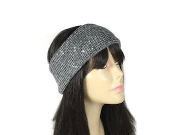 Gray Knit Earwarmer Grey Sequin Earwarmer GraySequin Headwrap Gray Sequin Earwarmer Warm Headband Warm Head Wrap Gray Sparkle Head Wrap