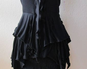 Black stretch lace knee length skirt with asymmetric design plus made in USA (V32)