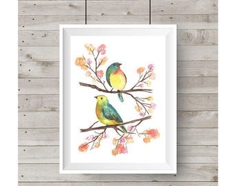 Two Birds on Branches Watercolor