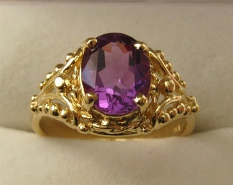 Genuine SOLID 9ct YELLOW GOLD Natural Amethyst Dress Ring