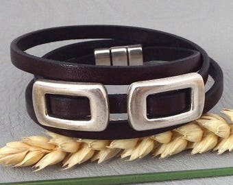 3 leather bracelet Brown rounds with beads and clasp silver plated rock