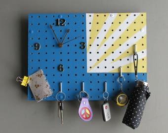 organizer /clock - true blue/yellow/white– Sunshine - quartz clock - home décor - wall art -  functional artwork
