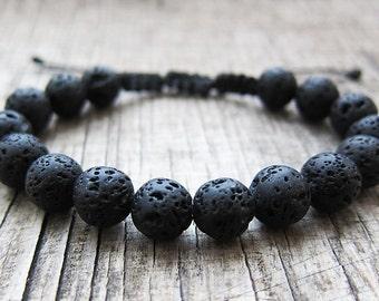 Lava rock bracelet Macrame bracelet men volcanic bracelet lava bracelet homme Yoga bracelets Mens jewelry Braid Bracelet Protection bracelet
