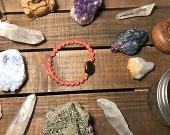 Tigers eye & rose quartz beaded bracelet
