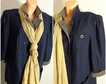 Vintage SET blouse+ Brooch+ Shawl In one price XXXL Size