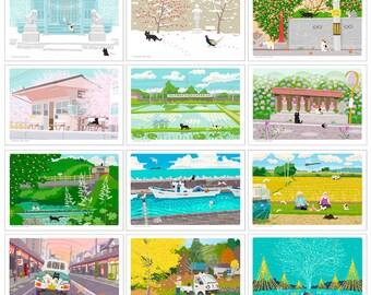 TABINEKO Postcard B-Set (Cat Illustration card-12 pieces )
