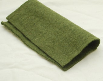 """100% Wool Felt Fabric - Approx 3mm - 5mm Thick - 30cm / 12"""" Square Sheet - Dark Olive Green"""