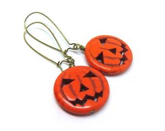 Pumpkin Brass Kidney Wire Earrings