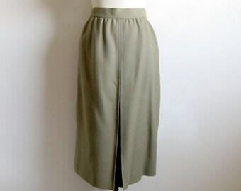 Vintage 1980s Louis Feraud Skirt Fern Green Wool Straight Pleat 80s Skirt 36