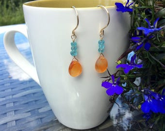 Carnelian and apatite dangle earrings