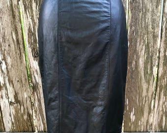 Vintage black leather pencil skirt 80's 1980's