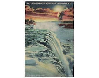 Niagara Falls New York vintage linen postcard   Prospect Point, American Falls, Niagara River   1940s NY travel decor, waterfall sunset