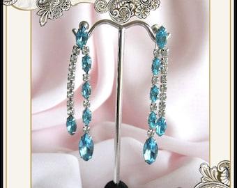 Kramer Aqua Blue & Clear Rhinestone Dangle Earrings