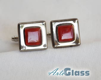 Cufflinks handmade painted red decorated with platinum, square
