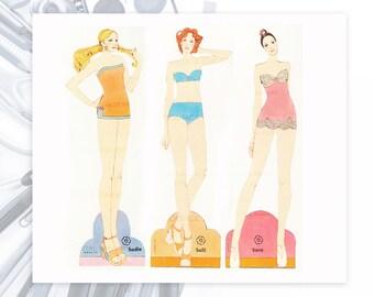 1970s Fashion Paper Dolls 70s Models Disco Printable Paper Dolls Retro Vintage Models Digital Download Altered Art Supply