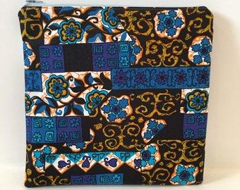 Vintage Hawaiian Textiles Fabric / Zipper Pouch/ Cosmetic Bag/ Makeup Bag