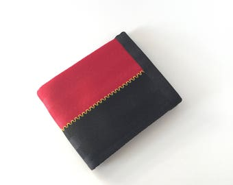 Vegan Wallet with Coin Pocket - Red and Black with Yellow Stitching