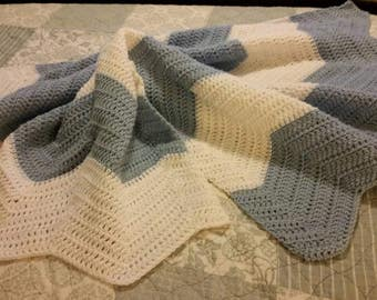 Blue and White Chevron Baby Blanket