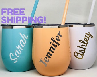 Wine Tumbler With Straw Coffee Tumbler Personalized Tumbler Insulated Tumbler Wine Tumbler with Straw Glitter Tumbler Mothers Day Gift
