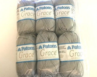 Patons Grace Yarn 100% Cotton Blend in Clay, Sunkissed and Lavender Multicolor 6 skeins Package