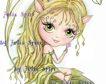 Digital Stamps, Digi stamp, Coloring pages, Digital doll, Elf stamps, Fantasy, Scrapbooking. The Forest Dwellers Collection. April Elf
