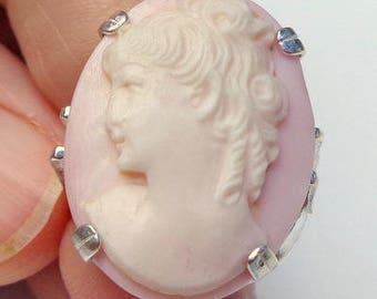 Size 8, Vintage Cameo, New Sterling Silver Ring, Hand Carved, High Relief Cameo, Pink Baby Skin Conch Shell Cameo, OOAK