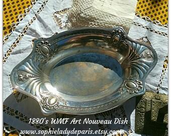 Art Nouveau WMF Dish Antique 1880's German Silver on Brass Dish Collectible Home Decor #sophieladydeparis