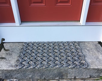 Maine rope rug, Upcycled lobster rope, Nautical mat, Gray and yellow mat, Maine made by WharfWarp