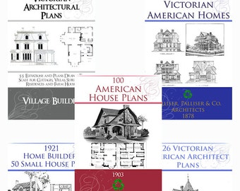 New Collection of 5 x RARE Victorian Architecture House Plan Books ~ Elevations Plans and Designs to print out and use Instant Download