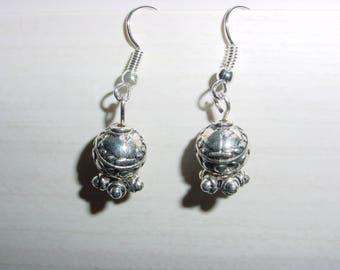 Drop earring loops and silver metal beads