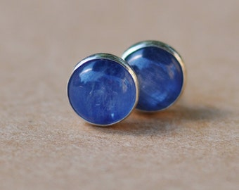 Blue Kyanite Earrings handmade with Sterling Silver Studs. 6mm gemstone and silver earrings. 925 silver jewelry. gifts, handcrafted, present
