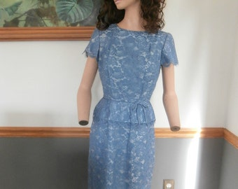 Womens Formal Dress:  Blue Periwinkle -Lined Blue Lace-Short Sleeves- Womens Vintage  Dress